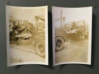 2 Old Vintage Accident Photos Penn Yan Express Accident Wreck Tow Truck