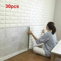 30pcs 3D Tile Brick Wandaufkleber Selbstklebende wasserdichte Schaumstoffplatte