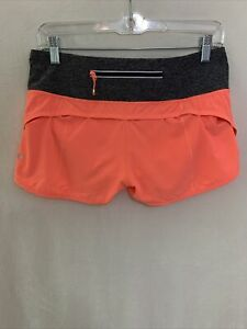 Lululemon Run Speed Short Block-It Pocket Size 6  Grapefruit Heathered Gray  L8