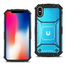 iPhone XS X Case Magnetic Plate TPU Protective Frame Stainless Steel Cover Blue