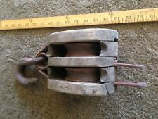 Vintage Wood double  Iron Pulley Industrial Farm Ship yard US navy