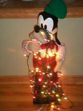 Animated Goofy Christmas Tangled in  Lights Disney Store Lot 2 BOX MUSICAL