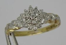 ***BEAUTIFUL 9CT YELLOW GOLD 0.20CT DIAMOND CLUSTER RING UK SIZE i 1 /2***