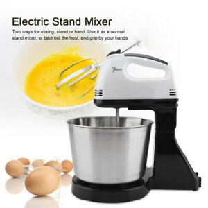 Electric Hand Mixer Automatic For Cook Baking With Bowl Whisk 2 Dough Hooks