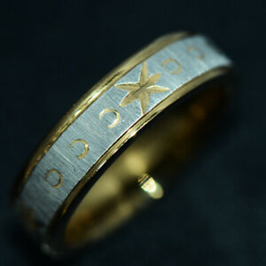 Mens Jewelry Band Ring Man Rings Gold Stainless Steel Fashion Accessory Size 10