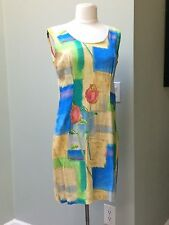 JAMS WORLD Sz M Rayon Sleeveless Shift Dress Rosebud Pattern