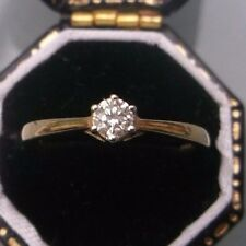 Vintage 9ct Gold Women's Diamond Solitaire Ring Size J Stamped Weight 1.6g