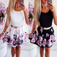 Womens Sleeveless Skater Dress Mini Rose Floral Party Cocktail Evening Wedding