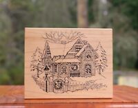 Christmas Holiday Winter House Wood Mounted Rubber Stamp 1991 by PSX # K-347