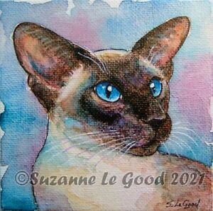 Siamese cat art painting canvas original watercolour easel by Suzanne Le Good