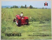 prospectus faucheuse portée ou latérales mc cormick international IH tracteur