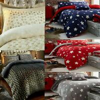 TEDDY BEAR Star Fleece Duvet Quilt Cover Pillow Case Fluffy Warm Bedding Set