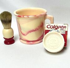 FLINN Plastic Shaving Mug Pink Marbled + Ever-Ready Brush + Colagate Mug Soap