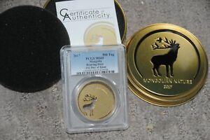 2017 500 Togrog Mongolian Nature Roaring Deer Silver Coin