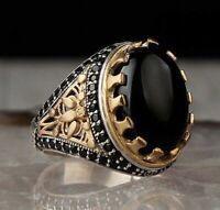 Turkish 925 Sterling Silver Flashy black onyx stone mens man ring ALL SİZE us