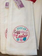 Easter Egg Kitchen Towel White Eggcellent Easter