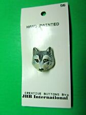 "(1) VINTAGE JHB 7/8"" GRAY WOLF SHANK BUTTON NOS (H565)"