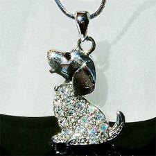 w Swarovski Austrian Crystal ~BEAGLE puppy DOG~ pet charm Pendant Chain Necklace