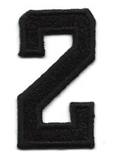 """NUMBERS - Black Number """"2"""" (1 7/8"""") - Iron On Embroidered Applique/Numbers"""