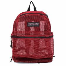 Red, Clear See Through Mesh Backpack> Book Bag> Student Gym> Travel Day Pack!