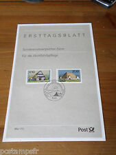 ALLEMAGNE FEDERALE, RFA, 1996, FERMES, timbres 1718/1719, DOCUMENT 1° JOUR