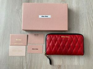 Miu Miu Red Quilted Leather Zip Around Wallet Purse Cardholder