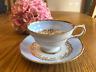 Antique Copelands Grosvenor China Floral Teacup & Saucer, England. Light Blue