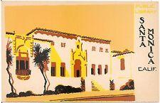 Public Library in Santa Moinica CA Serigraph Postcard
