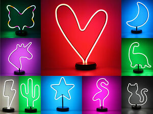 NEW LED Neon Sign Varies Shapes Night Light Party Decor Table Lamp USB cable