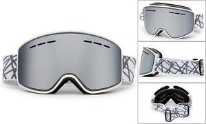 Ski Snowboard Mens Womens Goggles White Winter Sports Anti Fog Dual Lens UV 100%