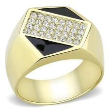 3224 MAN GOLD STAINLESS STEEL SIMULATED DIAMOND RING ONYX SIGNET PINKY MENS