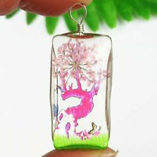Flower Oblong Pendant Bead W06312 Pink Peach Delicate Crystal Glass Dried