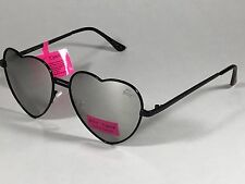 613984508 $60 New Authentic Betsey Johnson Heart Sunglasses Black Metal Silver Mirror  Lens