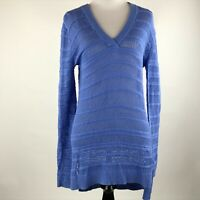 MICHAEL Michael Kors Women Blue Open Knit Long Sleeve Sweater Top sz XS