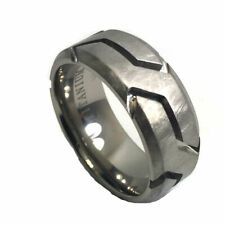 9mm Men's Yurman Titanium Rugged Finish and Groove David Wedding Band Ring