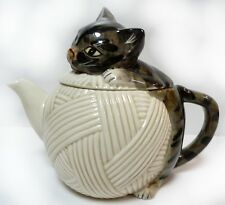 Adorable Vintage hand painted cat or kitten on ball of wool teapot by Mann