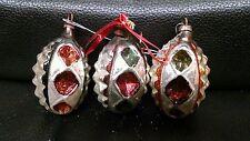 3 Vintage Antique Acorn Style Mercury Christmas Ornaments