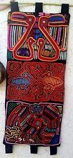 "Kuna Indians Mola  layered applique needle work 3 panels birds mix 35""X16"""