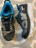Hoka One One Valor Running Shoes Mens Size 8.5 Black Blue EUC! B6