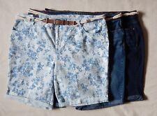 NEW Gloria Vanderbilt Joslyn Womens Roll Up Down Floral Bl Denim Shorts 16W-24W