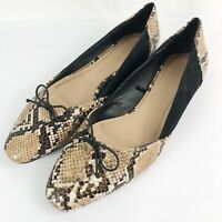 ZARA TRAFAULUC Women's Flats Shoes Snake Skin Print Brown Bow Size 39