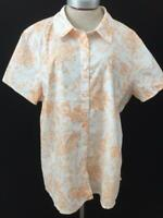 Denim & Co top blouse size 2X short sleeve paisley orange white button down