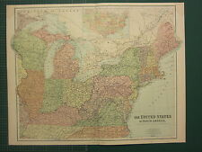 1902 LARGE ANTIQUE MAP ~ UNITED STATES OF NORTH AMERICA NORTH EAST DIVISION