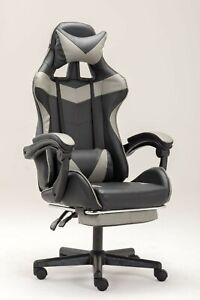 PC Gaming Chair Swivel High Back Ergonomic Leather Racing Adjustable Office Gray