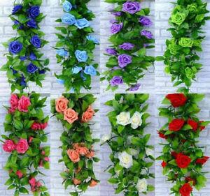 8ft Rose Flower Ivy Vine Silk Flowers Hanging Garland Wedding Party Home Decor