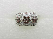 14K WHITE GOLD FANCY COLOR RED DIAMOND AND WHITE DIAMOND RING SIZE 11 - LB2486