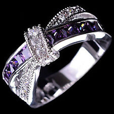 Women's Fashion Silver Plated Purple Rings Zircon Wedding Bague Jewelry Modish