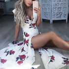 Women Elegant Floral Pattern V-neck Lace-up Backless Cocktail Party Long Dress