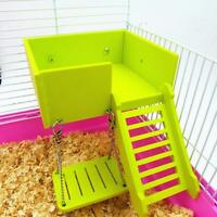 Wood Double Deck Guinea Pig Rat Hamster Nest Villa House Small Pet Cage Toy DB