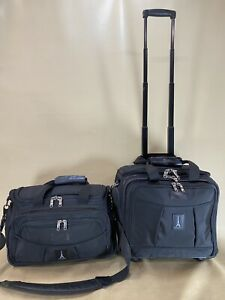 """Travelpro Crew 4 Black Carry On Luggage Set 15"""" Tote & 15"""" Wheeled Rolling Tote"""